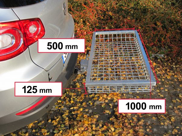 Tow Hitch Cargo Rack - Stainless Steel 1000 x 500 x 125 mm